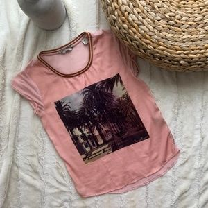 SCOTCH & SODA PINK TEE WITH PALM TREES GRAPHIC XS